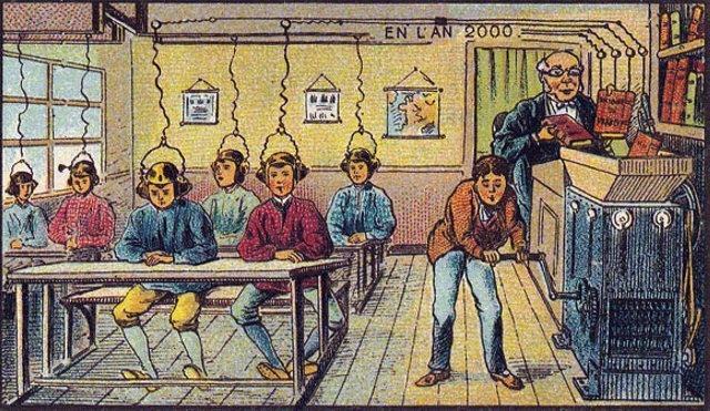 Transfer znanja po zamisli futurologa 19. veka. Obratite pažnju da su učenici samo dečaci.